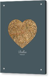 I Heart Dallas Texas Vintage City Street Map Love Americana Series No 030 Acrylic Print by Design Turnpike