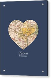 I Heart Detroit Michigan Vintage City Street Map Americana Series No 001 Acrylic Print