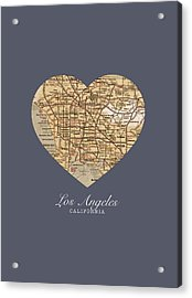 I Heart Los Angeles California Vintage City Street Map Americana Series No 018 Acrylic Print