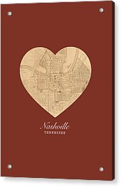 I Heart Nashville Tennessee Vintage City Street Map Americana Series No 010 Acrylic Print by Design Turnpike