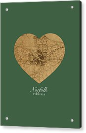 I Heart Norfolk Virginia Street Map Love Americana Series No 064 Acrylic Print