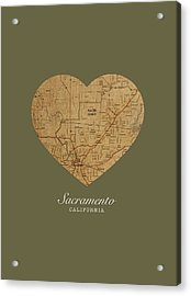I Heart Sacramento California Vintage City Street Map Love Americana Series No 043 Acrylic Print