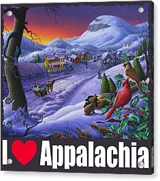 I Love Appalachia T Shirt - Small Town Winter Landscape 2 - Cardinals Acrylic Print