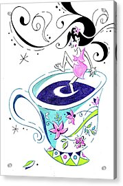 I Love Coffee - Art Book Illustration Acrylic Print by Arte Venezia