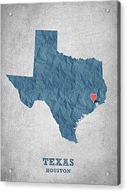 I Love Houston Texas - Blue Acrylic Print by Aged Pixel