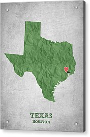 I Love Houston Texas - Green Acrylic Print by Aged Pixel