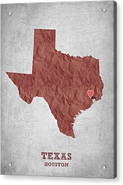 I Love Houston Texas - Red Acrylic Print by Aged Pixel