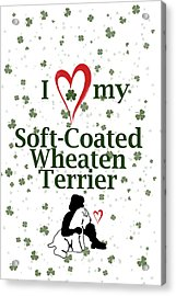 Acrylic Print featuring the digital art I Love My Wheaten Terrier by Rebecca Cozart