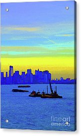 I Love New York Sunset Digital Painting Acrylic Print by Robyn King