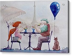 I Love Paris Grandpa Acrylic Print by Geni Gorani
