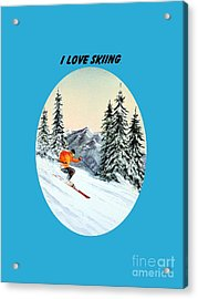 Acrylic Print featuring the painting I Love Skiing  by Bill Holkham