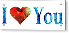 I Love You 10 - Heart Hearts Valentine's Day Romantic Art Acrylic Print