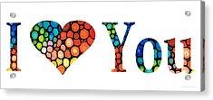 I Love You 14 - Heart Hearts Romantic Art Acrylic Print
