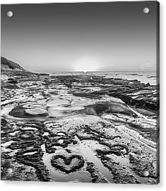 I Love You As Big As The Ocean Too Square    Black And White Acrylic Print