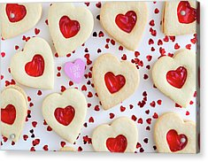 Acrylic Print featuring the photograph I Love You Heart Cookies by Teri Virbickis