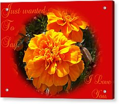 I Love You In Red And Orange Acrylic Print by Dawn Hay