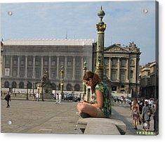Acrylic Print featuring the pyrography I Sit I Read by Yury Bashkin