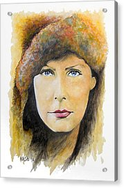 I Want To Be Alone - Garbo Acrylic Print by William Walts