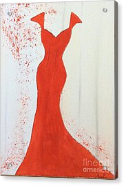 I Wear Red Acrylic Print by Nancy Pace