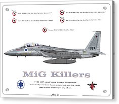 Acrylic Print featuring the drawing Iaf F-15d - Mig Killer by Amos Dor