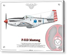 Acrylic Print featuring the drawing Iaf First P-51d Mustang by Amos Dor
