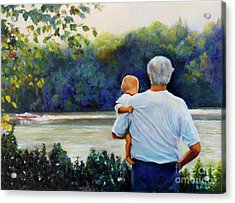 Ian And His Daddy One Sunday Afternoon Acrylic Print by Marlene Book