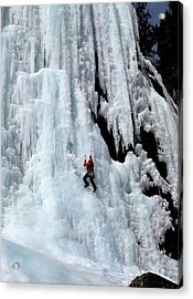 Ice Climbing In The Adirondack Mountains Of New York At Pok-o-moonshine Cliff Acrylic Print by Brendan Reals