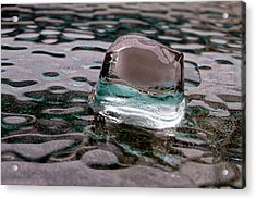 Acrylic Print featuring the photograph Ice Cube On Glass V1 by Rico Besserdich