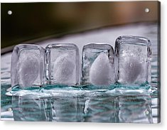 Acrylic Print featuring the photograph Ice Cubes In A Line by Rico Besserdich