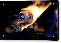 Acrylic Print featuring the photograph Ice Cubes Under Fire by Rico Besserdich