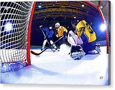 Ice Hockey Battle Through The Cage Acrylic Print by Elaine Plesser