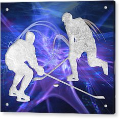 Ice Hockey Players Fighting For The Puck Acrylic Print by Elaine Plesser