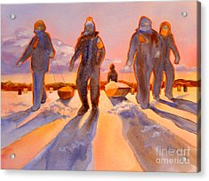 Ice Men Come Home Acrylic Print by Kathy Braud