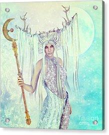 Acrylic Print featuring the digital art Ice Moon Princess by Jutta Maria Pusl