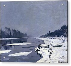 Ice On The Seine At Bougival Acrylic Print by Claude Monet