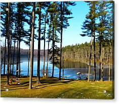 Ice On The Water Acrylic Print by Donald C Morgan