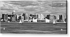 Ice Sailing Bw - Madison - Wisconsin Acrylic Print by Steven Ralser