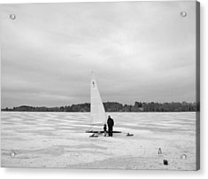 Ice Sailing Father And Daughter Acrylic Print