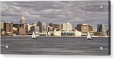Ice Sailing - Lake Monona - Madison - Wisconsin Acrylic Print