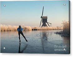 Ice Skating Past Frosted Reeds And A Windmill Acrylic Print