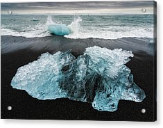 Acrylic Print featuring the photograph Iceberg And Black Beach In Iceland by Matthias Hauser
