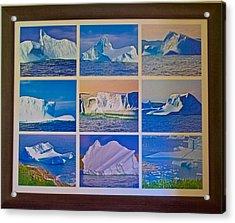Iceberg Graveyard Photo Assemblage In Saint Anthony Bay In Newfoundland, Canada Acrylic Print