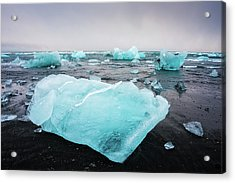 Acrylic Print featuring the photograph Iceberg Pieces In Iceland Jokulsarlon by Matthias Hauser