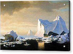Icebergs Acrylic Print by William Bradford