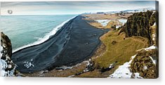 Iceland Coast And Black Beach Panorama Acrylic Print