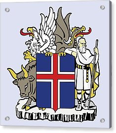 Acrylic Print featuring the drawing Iceland Coat Of Arms by Movie Poster Prints