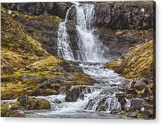 Acrylic Print featuring the tapestry - textile Iceland Fjord 2 by Kathy Adams Clark