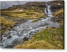 Acrylic Print featuring the tapestry - textile Iceland Fjord by Kathy Adams Clark