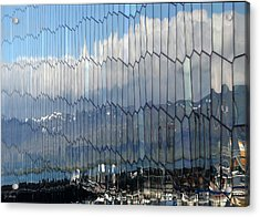 Acrylic Print featuring the photograph Iceland Harbor And Mountains by Joe Bonita