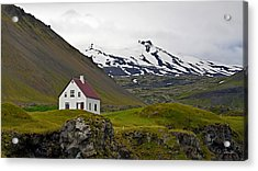 Acrylic Print featuring the photograph Iceland House And Glacier by Joe Bonita